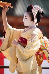 舞 (byzanceblue) Tags: red white flower cute beauty yellow japan japanese dance kyoto traditional maiko geisha 先斗町 祇園 kimono gion pontocho 着物 平安神宮 kanzashi 舞妓 花街 京の四季 かんざし 奉納舞 市結