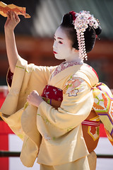 (byzanceblue) Tags: red white flower cute beauty yellow japan japanese dance kyoto traditional maiko geisha   kimono gion pontocho   kanzashi