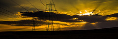 Electric Light (Brian Travelling Getty Contributor) Tags: light sunset art lines electric metal scotland scenery industrial colours pentax border scottish peaceful brisbane structure glen cables serene pylons inverclyde northayrshire pentaxkr coloursofscotland