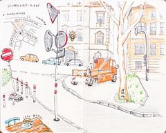 less traffic - more road signs, Stuttgart (katie.charcoal) Tags: auto moleskine stuttgart marker verkehr zeichnung 2016 fineliner strase urbansketch