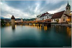 Lucerne (Madmyst619) Tags: city bridge lake alps switzerland evening long exposure slowshutter lucerne lakelucerne