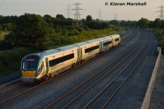 22024 passes Stacumny Bridge, 27/6/16 (hurricanemk1c) Tags: irish train rail railway trains railways irishrail rok rotem countykildare 2016 icr iarnrd 22000 22024 ireann iarnrdireann 4pce stacumny stacumnybridge 2105heustonportlaoise