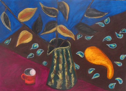 "Seth's Pitcher with Milkweed - pastel on paper 22"" x 30"" $1100"