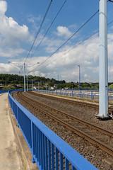 Tram rails (Zaphod Beeblebrox 1970) Tags: germany deutschland tracks tram line rails blau brcke sonne ruhr hattingen tiefe fluchtpunkt