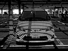 car_1220417 (strange_hair) Tags: light shadow car blackwhite parking dot