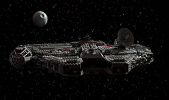 """I hope the old man got the tractor beam out of commission."" (Blockaderunner) Tags: station death star lego space millennium falcon wars ucs 10179"