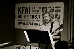 Fire Bell (KFAI-FM) Tags: shadow music white black color minnesota st radio paul fire drums am bell bass guitar five live doug mj stpaul minneapolis jazz s sound fm localmusic firebell kfai minneapolismusicscene andrewcasey livefromstudio5 dougthethug livefromstudiofive