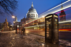 St Paul's Trails (Olly Plumstead) Tags: blue light red white black bus london st night photography long exposure shine phone cathedral box trails pauls hour olly cheapside plumstead