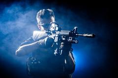 Modern Warfare XVII (dtpancio) Tags: blue portrait italy black studio soldier background smoke it backlit combat sir reggioemilia softair assaultrifle hardlight bibbiano modernwarfare alessandroperdelli