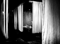 curtain dinner (Mario NR) Tags: blackandwhite fuji noiretblanc reastaurant x100 fujix100