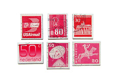 vintage POSTAGE STAMPS _ Magnet Set No. VI (purespace) Tags: pink blue red vintage germany design europe graphic stamps queen recycling magnet postagestamps briefmarken upcycling