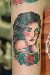 Gypsy Girl Head Tattoo by KeelHauled Mike of Black Anchor Tattoo on Denton Maryland (KeelHauled Mike) Tags: maryland americanna traditionaltattoo dentonmaryland keelhauledmike wwwkeelhauledmikecom gypsygirlhead