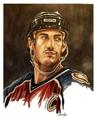Joe Sakic (BT Illustrations) Tags: portrait people art sports hockey illustration watercolor nhl artwork colorado icehockey watercolour watercolors watercolours realism avs coloradoavalanche joesakic nhlhockey hockeyart sportsart nhlart
