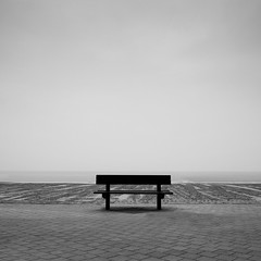 bench(mark) (helmet13) Tags: d700 raw bw minimalist emptiness bench northsea beach seafront mist squareformat space silence aoi 100faves world100f bestcapturesaoi simplicity