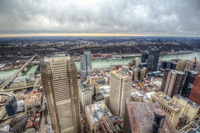 View of downtown Pittsburgh and the BNY Mellon Building from the top of the Steel Building HDR