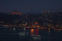 Historical İstanbul (kompetenzsackerl) Tags: blue tower night turkey golden dusk istanbul mosque horn sophia beyoglu ayasophia highiso hagia camii sultanahmed eminönü kulesi haliç