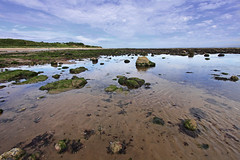 Alnmouth beach in Summer, Northumberland, UK (Wilamoyo) Tags: blue sea england sky reflection beach water coast countryside sand rocks dunes rocky northumberland hoizon