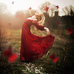To become a butterfly (rosiekernohan) Tags: light red girl grass countryside fly glow dress lace butterflies blonde rosiekernohan tobecomeabutterfly