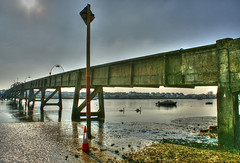 up the swanny (crusader752) Tags: seaweed water reflections river boats concrete weed traffic mud westsussex footbridge cone structure swans marker mast hdr adur shorehambysea reenforced sonydslra100