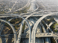 Highway interchange. (La Ciudad Verde) Tags: california road travel color horizontal outdoors losangeles highway traffic image unitedstatesofamerica aerialview nobody aerial busy photograph parkway transportation freeway interstate complexity turnpike interchange viewfromabove highwayinterchange