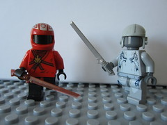 Duelers (Dr. Orange) Tags: light red grey lego legos future sword minifig minifigs tac minifigure dueling minifigures brickarms stabstabstab spaaaaaaaaaace