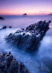 After Dark (paulwynn-mackenzie.co.uk) Tags: blue sea mist seascape water photoshop rocks sony plymouth a33 jagged slt wembury