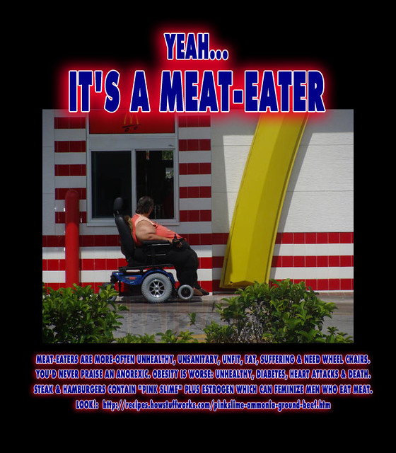 Its a Meat-Eater - Obese Woman feeding on Meat-based Diet needs Wheelchair for McDonalds DriveThrough to get Meal of PINK SLIME Chicken Nuggets & Ammonia sprayed beef known to contain Breast Cancer Carcinogens & Estrogen growth hormones
