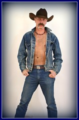 Denim Cowboy (Cowboy Tommy) Tags: blue shirtless portrait hairy hot sexy male hat sex hair fur model furry cowboy nipple pants muscle chest handsome blues wranglers stomach moustache jeans jacket western levi loveline redneck stache levis cowboyhat bellybutton stud rugged bulge wrangler