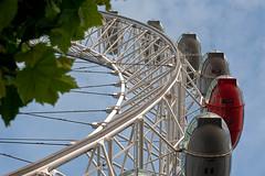 ELECTRIFIED  (2) (DESPITE STRAIGHT LINES) Tags: street city urban tree london tourism leaves wheel nikon branches capital londoneye foliage bigwheel touristattraction pods thelondoneye d700 ilobsterit