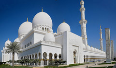 Expermenting Panorama with Shaik Zayed Grand Mosque, Abu Dhabi U A E (mamasain) Tags: longexposure travel blue panorama woman white art tourism yellow skyline architecture modern religious outdoors gold dawn lights hotel twilight women worship dubai exteri