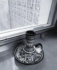 candleholder (LauraSorrells) Tags: blackandwhite stilllife window ceramic object ja