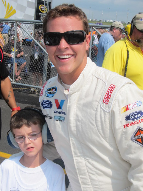 NASCAR Dreams child and Trevor Bayne having a blast at the track