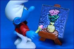 Des fleurs d'un rose profond (Rigib) Tags: pink flowers blue macro yellow canon toy miniature paint picture explore figure vase 60mm smurf paintbrush easel schlumpf pitufo jakks schlmpfe f250 schtroumpf peyo puffo explore282 lens00025 img6321    moulov sanafer paintersmurf
