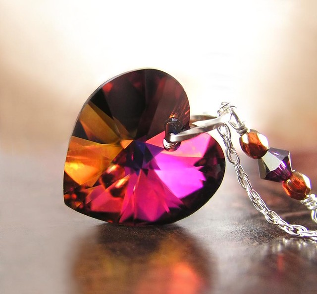 Amber Purple Heart Necklace Sterling Silver RARE Swarovski Crystal Heart Plum Ruby Crystal Heart Pendant Necklace