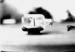 Ship in a Bottle (jessica-h) Tags: blackandwhite film scale darkroom bottle ship small developed