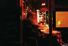 coffee night, lonely night (Twiggy Tu) Tags: trip portrait paris france film night coffeeshop stranger contaxt3 2011