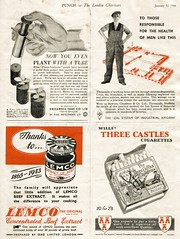 1944 - British advertisements. (painting in light) Tags: england food plants london home illustration workmen cigarette wwii ad advertisement advert ww2 british punch sell selling worldwar 1943 threecastles