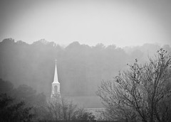 The Ivory Tower (Edward.rhys) Tags: bw mist church monochrome fog digital blackwhite nc nikon funny country religion northcarolina ironic acceptance pinehurst georgecarlin 55200 nikond60 alittlesad