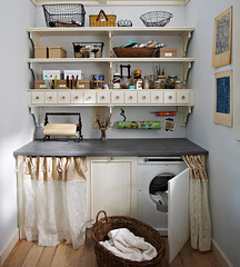 Crafty Laundry Room (Heath & the B.L.T. boys) Tags: basket box crafts curtain laundry decorate shelves organize