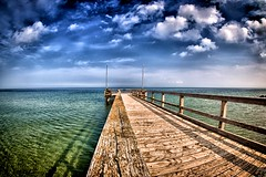 Jetty (dubdream) Tags: ocean wood sea sky seascape beach water clouds germany landscape nikon jetty balticsea fisheye schleswigholstein d300 heiligenhafen colorimage sigma10mm dubdream