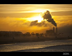 Huntington Beach Power Plant (esslingerphoto.com) Tags: ocean california county orange beach clouds sunrise coast surf natural pacific huntington lifeguard steam huts generators powerplant turbine boiler gasfired aes megawatt