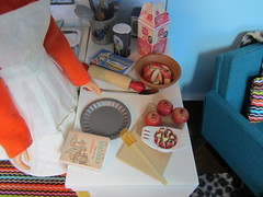 Making Apple Pie (Foxy Belle) Tags: orange house apple kitchen modern vintage pie miniatures cookbook miniature baking cozy mod doll pin furniture ooak barbie retro apples blythe 16 1960s rement bake rolling francie diorama dollhouse 1960 sindt foxybelle playscale