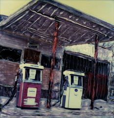 Abandoned Gas Station 2 (tobysx70) Tags: toby arizona abandoned station polaroid sx70 closed pumps time near az manipulation 66 gas pump route flagstaff petrol gasoline hancock 70 zero rt rte timezero sx tobyhancock