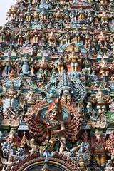 Madurai, Sri Meenakshi Temple, southern gopuram, detail