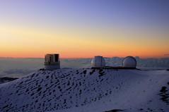 Mauna Kea Observatories (rmaschak) Tags: sunset mountain snow canon eos rebel hawaii observatory telescope hdr maunakea 2012 photomatix tonemapped 1855mmf3556 t1i