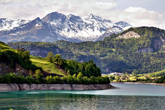 Swiss Alps (Artur Staszewski) Tags: trees vacation white lake mountains alps green canon landscape switzerland near snowy swiss scenic vivid sigma sunny hills tall xs picturesque picks interlaken 1770mm