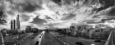 Las torres (Fernando Rey) Tags: madrid sky bw panorama towers bn cielo torres cuidad panoramiccity