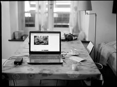 Morning time (ZoSo74) Tags: morning white black mamiya film home analog computer casa 645 kodak laptop hc110 hp5 bianco negativo ilford nero portatile mattina 1000s 80mm pellicola f19 analogico sekor