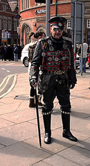 Whitby Goth Weekend 6 (Beachcomber ( By The Bay )) Tags: people beach festival photoshop canon soldier army photography eos seaside interesting war military 19thcentury victorian exhibit event seashore period edwardian fascinating steampunk bythesea calmsea seasides whitbygothweekend 450d canoneos450d newbigginphotographygroup photoshopelements80 beachcomberbythebay