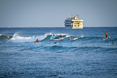 Ala Moana Bowls Surfers - Honolulu, Hawaii (banzainetsurfer) Tags: ocean sea usa water sport hawaii surf waves unitedstates pacific oahu surfer board spot shore float bowls alamoana alamoanabowls